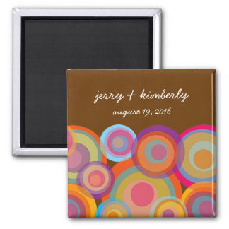 Rainbow Pop Circles Save Date Gift Favors Magnet