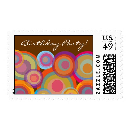 Rainbow Pop Circles Save Date / Thank You Postage Postage Stamps