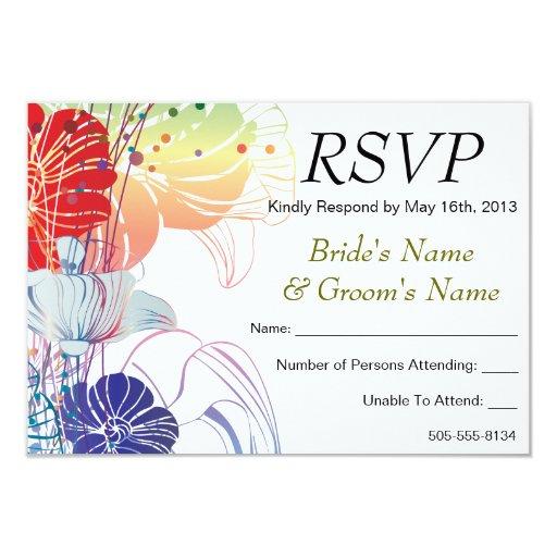 "Rainbow Poppies RSVP - 1 3.5"" X 5"" Invitation Card"