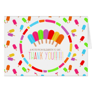 Rainbow Popsicles Thank You Card
