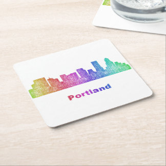 Rainbow Portland skyline Square Paper Coaster
