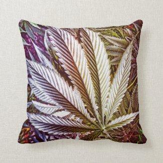 Rainbow Pot Leaf Throw Pillow