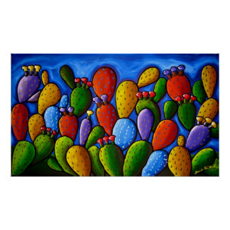 Rainbow Prickly Pear Cactus Art Poster