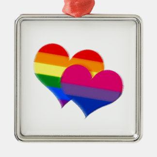 Rainbow pride bi pride hearts metal ornament