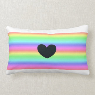 Rainbow Pride Black Heart Throw Pillow