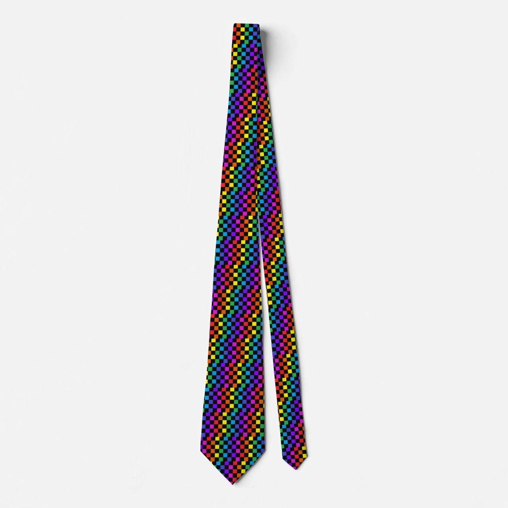 Rainbow PRIDE Diversity Checkerboard Colors Tie