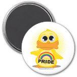Rainbow Pride Duck 3 Inch Round Magnet