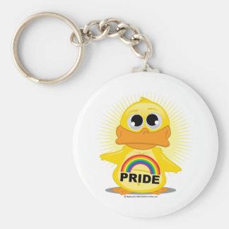 Rainbow Pride Duck Basic Round Button Keychain