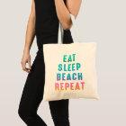 Rainbow Pride Eat Sleep Beach Repeat Tote Bag