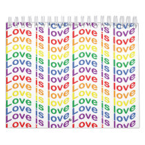 Rainbow Pride Flag Love Is Love Pattern Calendar