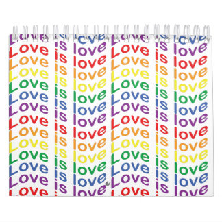 Rainbow Pride Flag Love Is Love Pattern Calendar