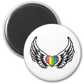 Rainbow Pride GLBT Heart with Wings Magnet