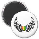 Rainbow Pride GLBT Heart with Wings Refrigerator Magnets