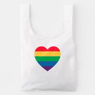Rainbow Pride Heart Baggu Reusable Bag
