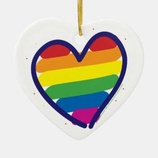 Rainbow Pride Heart Ceramic Ornament