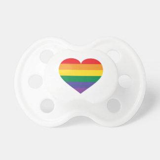 Rainbow pride heart pacifier