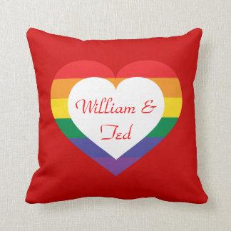 Rainbow pride heart pillow