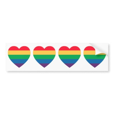 Valentines Themed Rainbow Pride Hearts Bumper Sticker