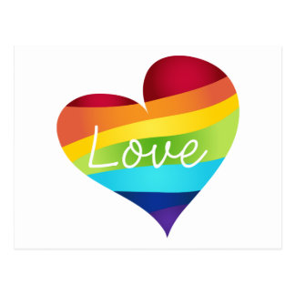Rainbow Pride Hearts - Your Choice Love or Pride Postcard