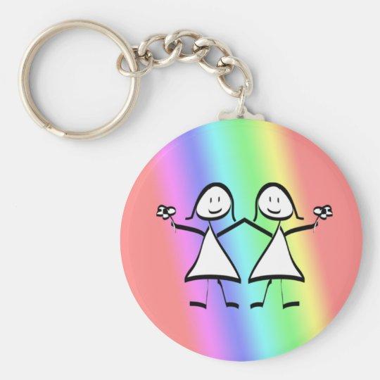 Rainbow Pride Lesbian Brides Keychain