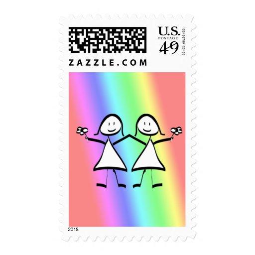 Rainbow Pride Lesbian Brides Postage Stamps