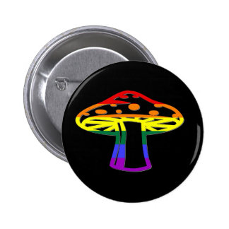 Rainbow Pride Mushroom 2 Inch Round Button