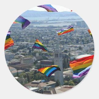 Rainbow Pride Over Berkeley Classic Round Sticker