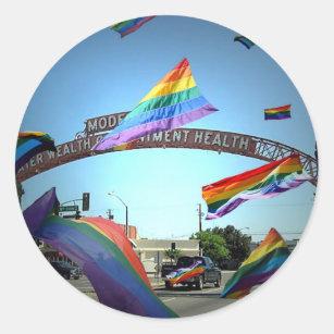 Rainbow Pride Over Modesto Classic Round Sticker