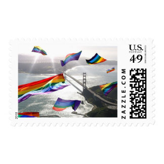 Rainbow Pride Over the Marin Headlands Postage Stamps