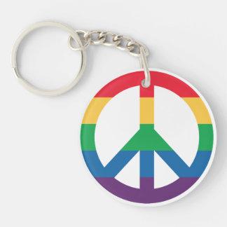 Rainbow Pride Peace Sign Acrylic Keychain