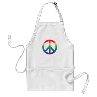 Rainbow Pride Peace Sign Adult Apron