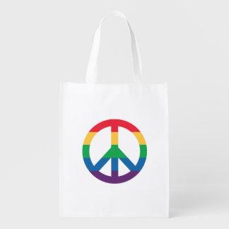 Rainbow Pride Peace Sign Reusable Bag