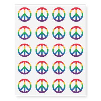 Rainbow Pride Peace Sign Temporary Tattoos
