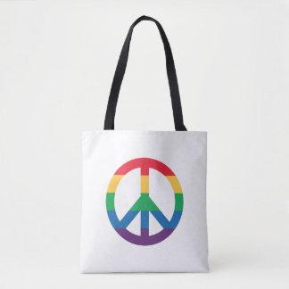 Rainbow Pride Peace Sign Tote Bag