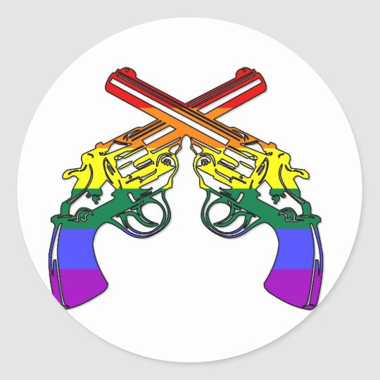 Rainbow Pride Pistols Classic Round Sticker
