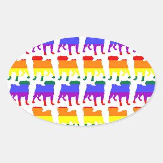 rainbow pride pugs - white oval sticker