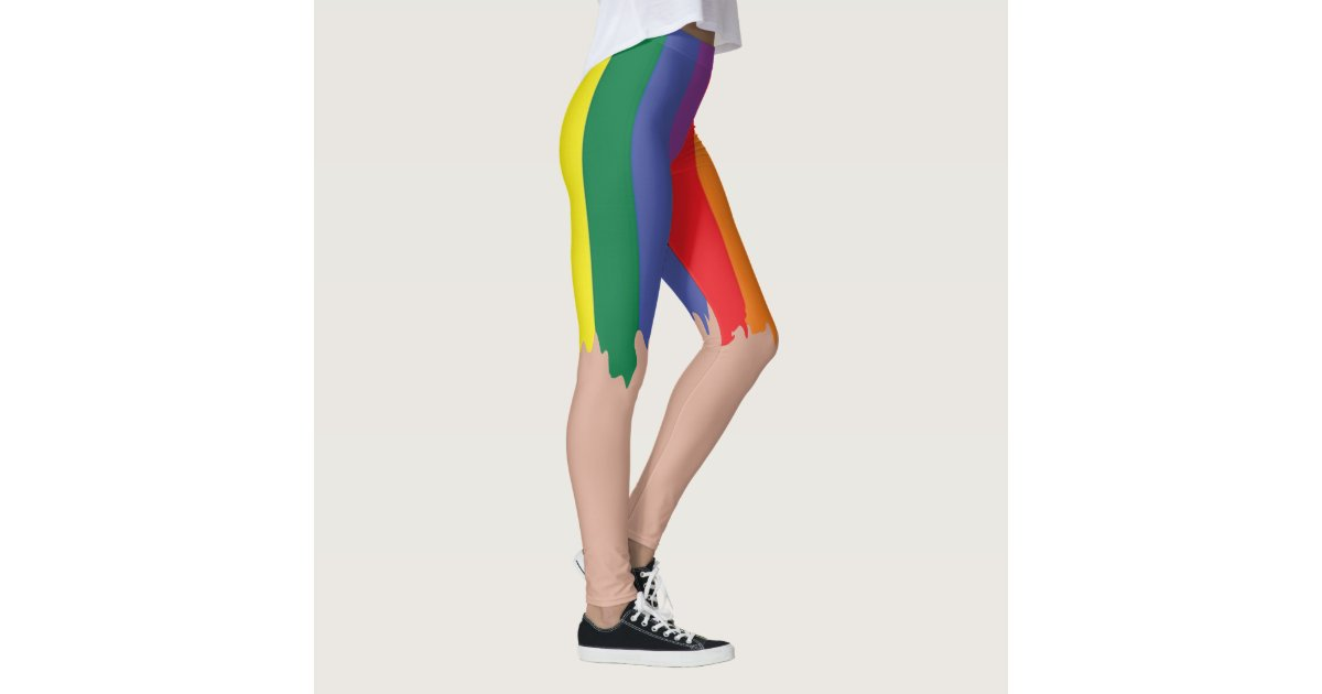 new concept separation shoes online here Rainbow Pride Running Paint Novelty Fun Leggings | Zazzle.com