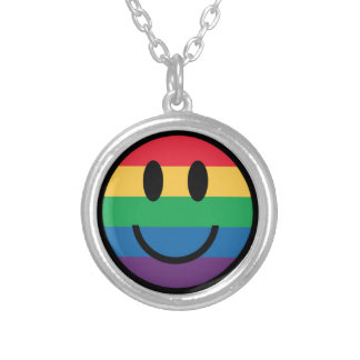 Rainbow Pride Smiley Face Necklace