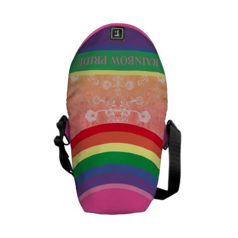 Rainbow Pride with Floral Courier Bag