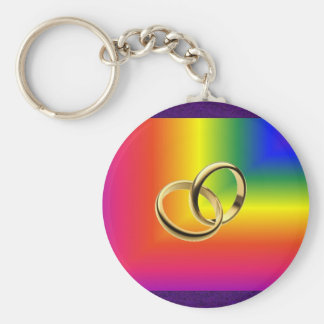 Rainbow Pride with Gold Wedding Bands Basic Round Button Keychain