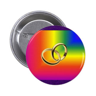 Rainbow Pride with Gold Wedding Bands Pinback Buttons