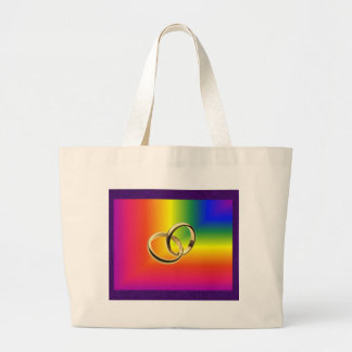 Rainbow Pride with Gold Wedding Bands Large Tote Bag