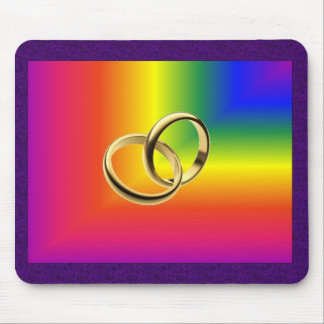 Rainbow Pride with Gold Wedding Bands Mouse Pad