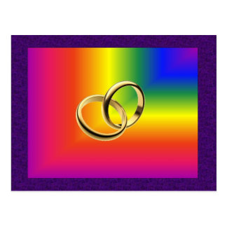 Rainbow Pride with Gold Wedding Bands Postcard