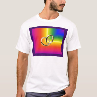 Rainbow Pride with Gold Wedding Bands T-Shirt