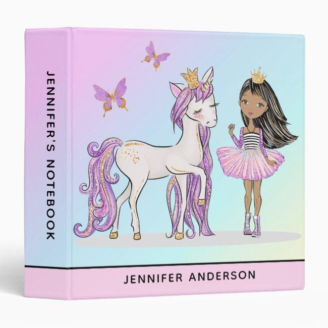 Rainbow Princess Unicorn School 3 Ring Binder