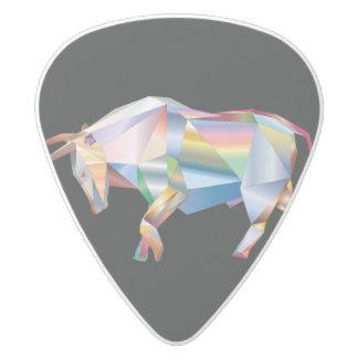 Rainbow Prism Taurus Bull White Delrin Guitar Pick