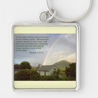Rainbow Promise Silver-Colored Square Keychain