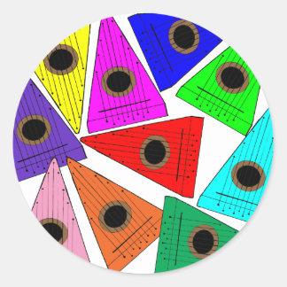 rainbow psaltery classic round sticker