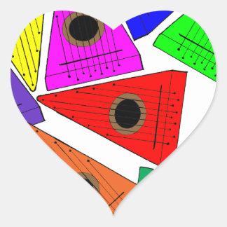 rainbow psaltery heart sticker
